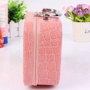 Bags - Pink Faux Crocodile Make-up Travel Case